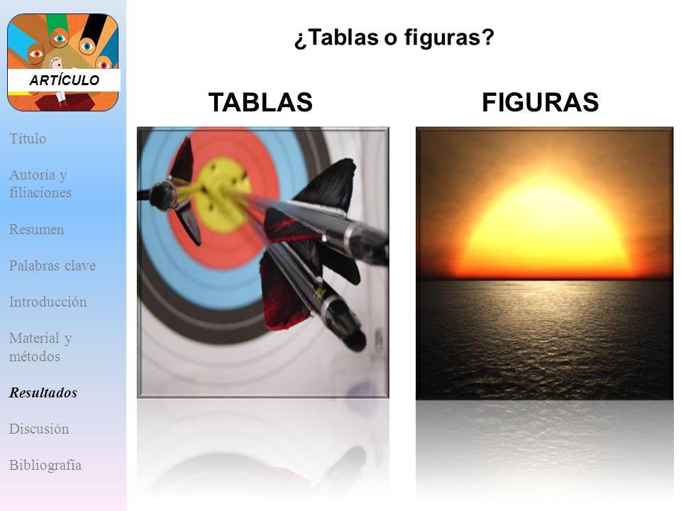 TABLAS FIGURAS ¿Tablas o figuras Título Autoría y filiaciones Resumen