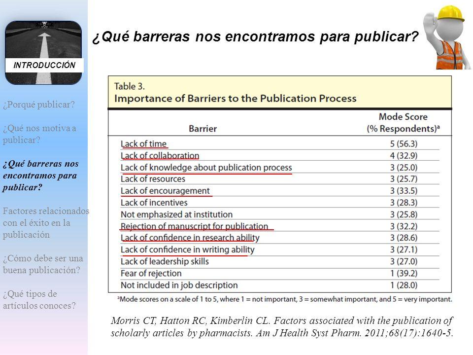¿Qué barreras nos encontramos para publicar