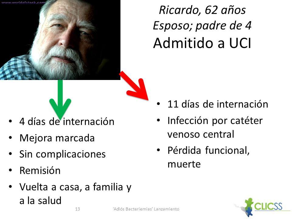 Ricardo, 62 años Esposo; padre de 4 Admitido a UCI