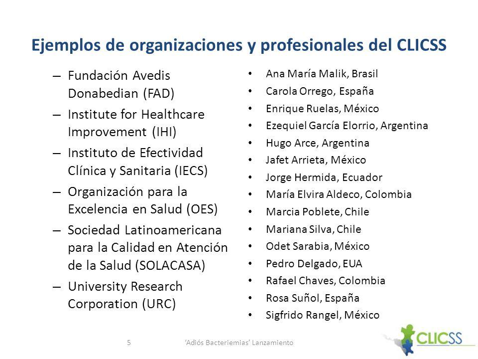 Ejemplos de organizaciones y profesionales del CLICSS