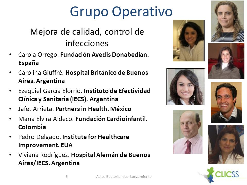 Grupo Operativo Mejora de calidad, control de infecciones