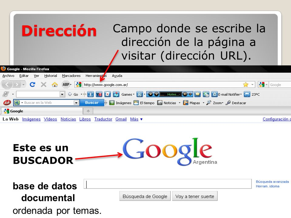 Dirección Campo donde se escribe la dirección de la página a visitar (dirección URL). Este es un.