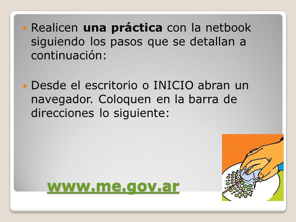 Realicen una práctica con la netbook siguiendo los pasos que se detallan a continuación: