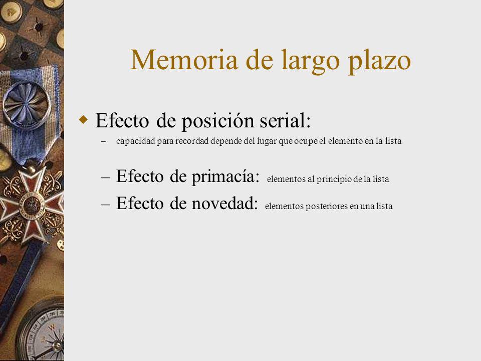 Memoria de largo plazo Efecto de posición serial: