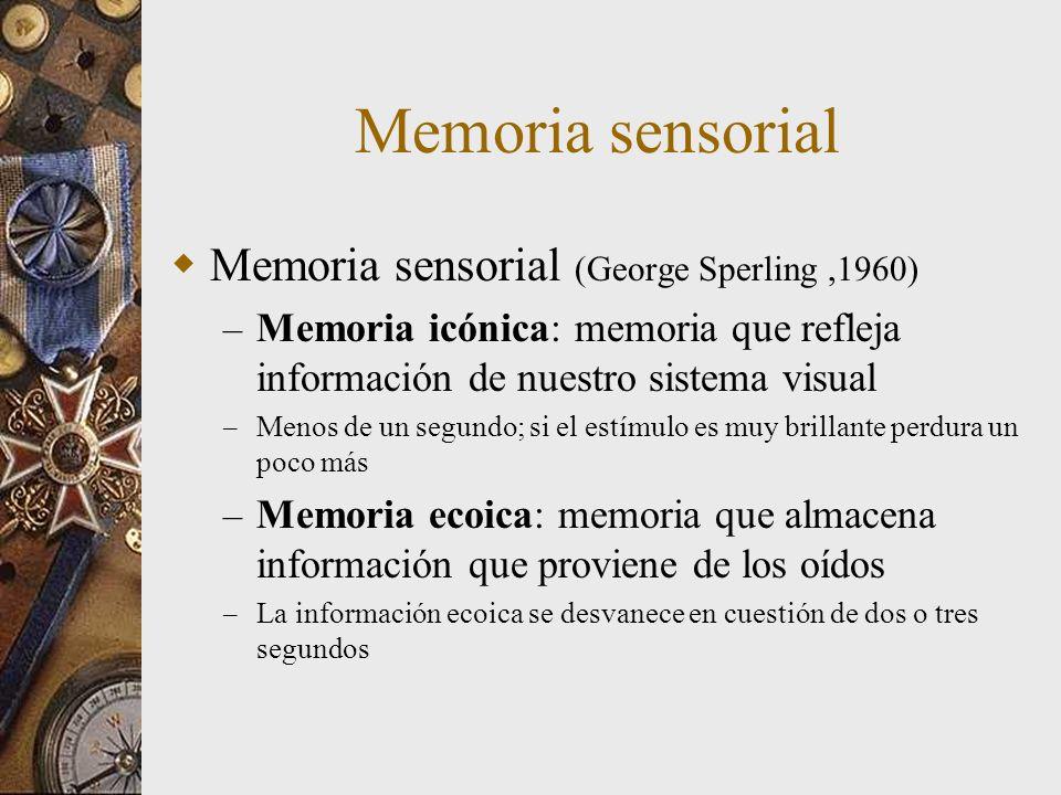 Memoria sensorial Memoria sensorial (George Sperling ,1960)