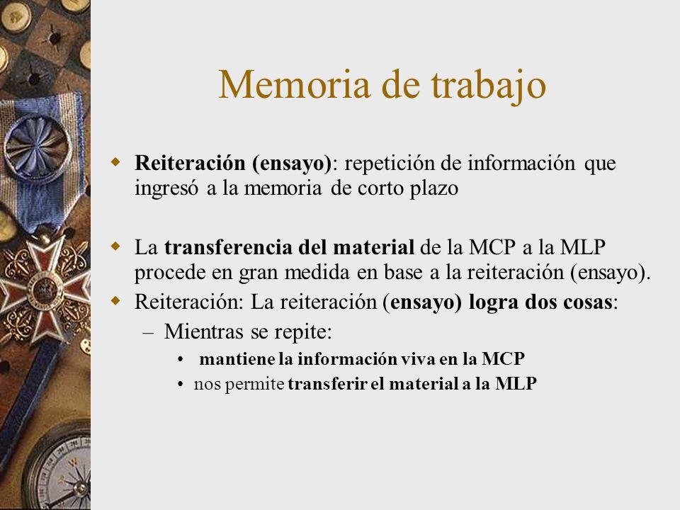 Memoria de trabajo Reiteración (ensayo): repetición de información que ingresó a la memoria de corto plazo.