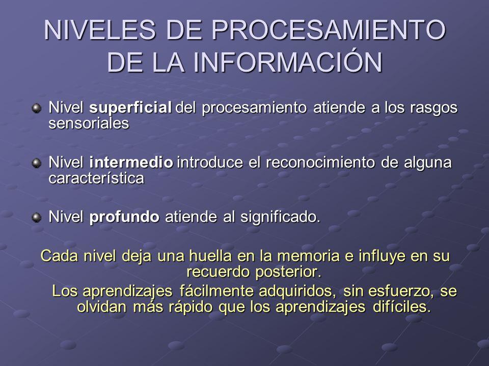 NIVELES DE PROCESAMIENTO DE LA INFORMACIÓN