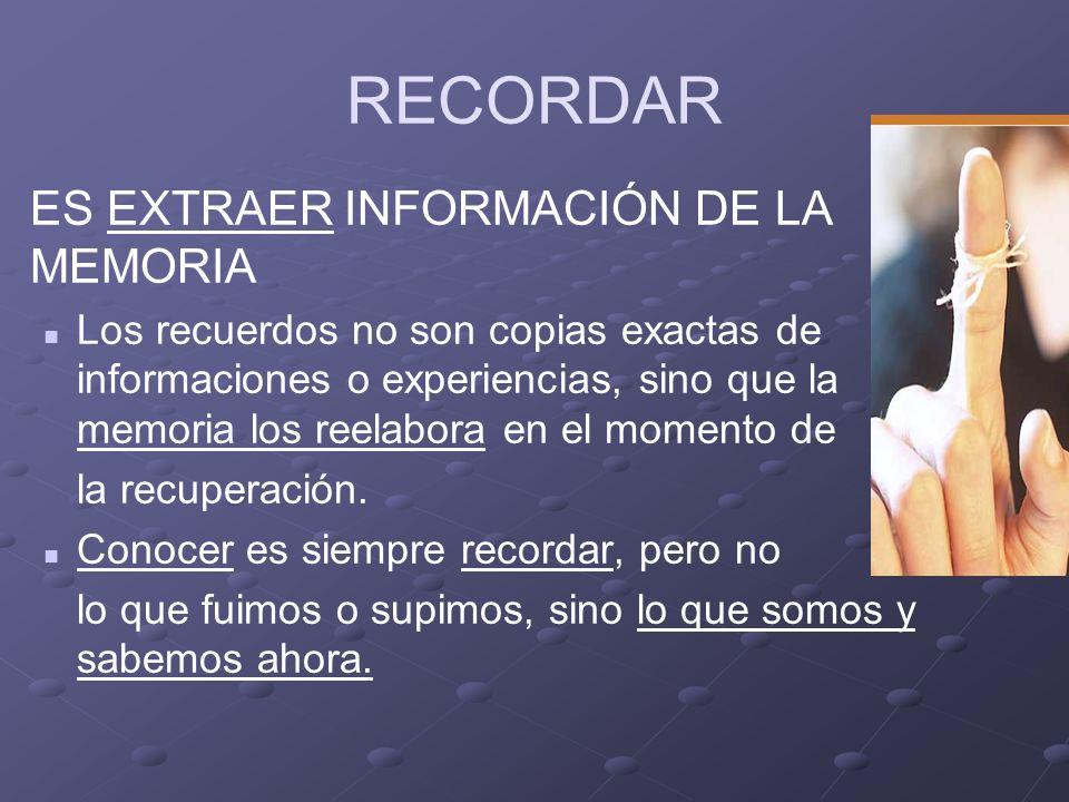 RECORDAR ES EXTRAER INFORMACIÓN DE LA MEMORIA