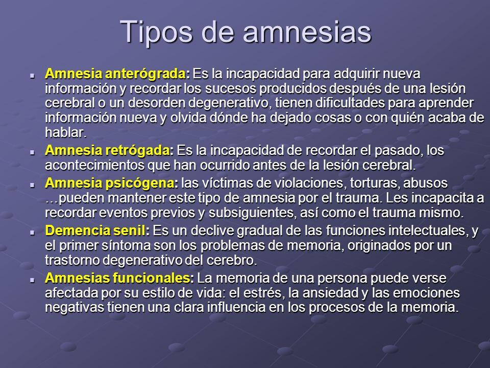 Tipos de amnesias