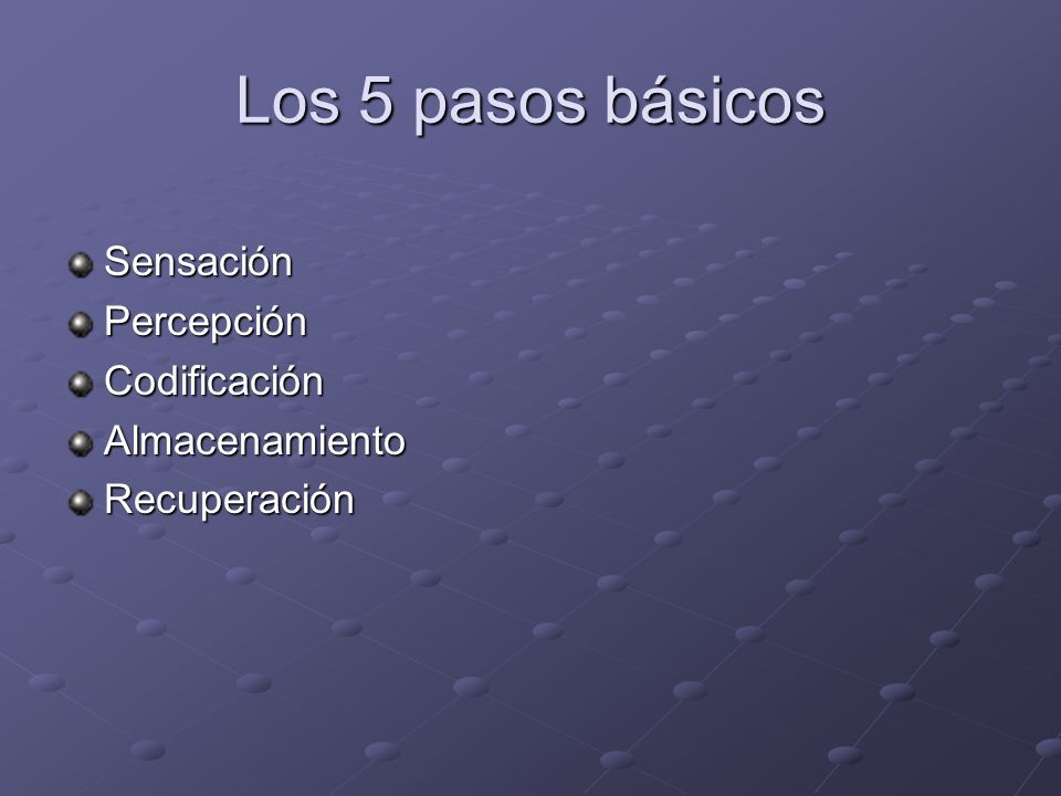Los 5 pasos básicos Sensación Percepción Codificación Almacenamiento