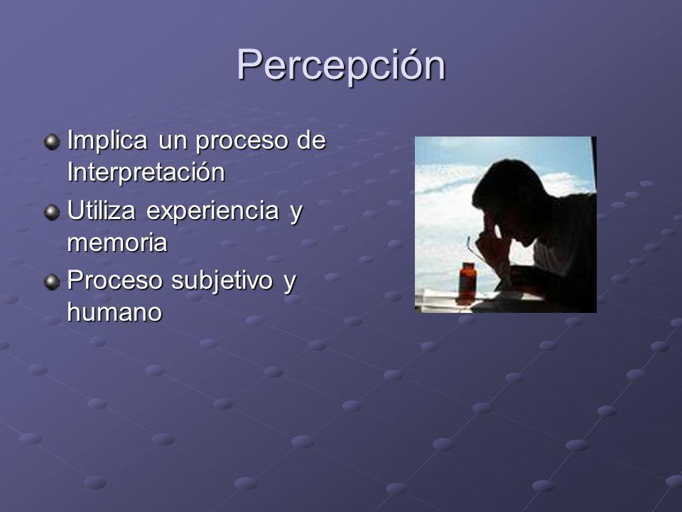 Percepción Implica un proceso de Interpretación