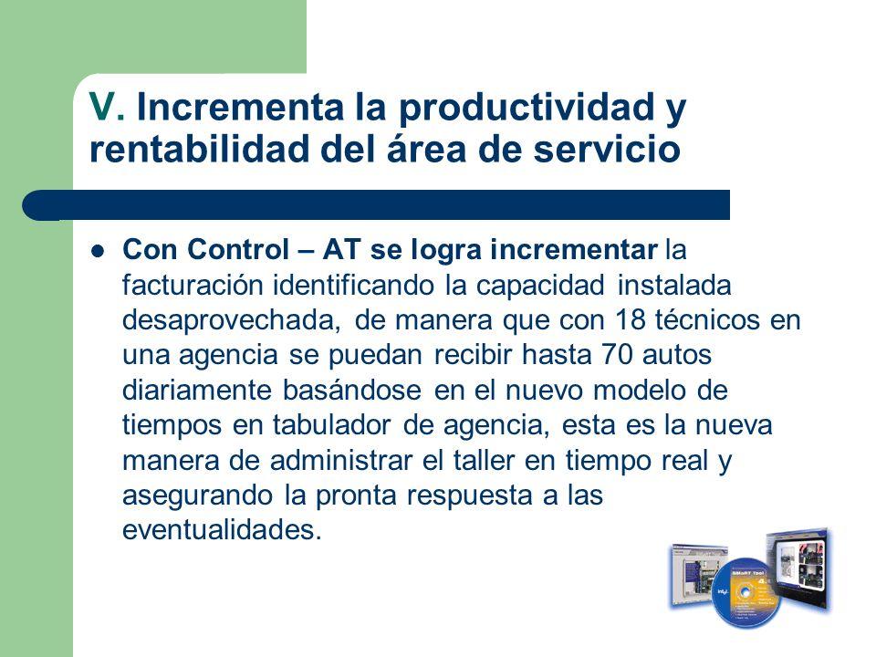 V. Incrementa la productividad y rentabilidad del área de servicio