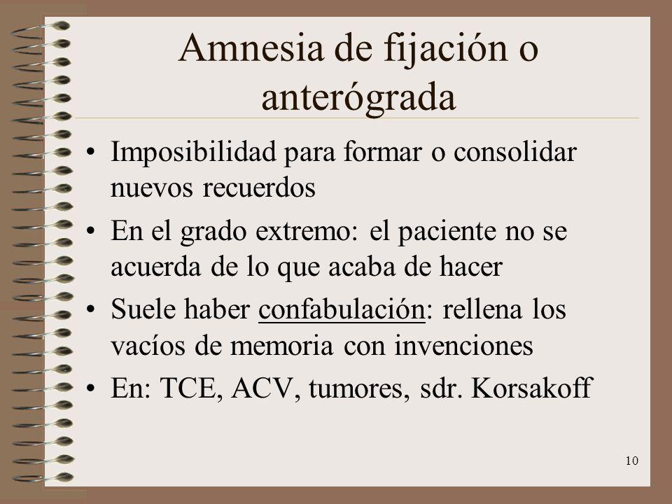 Amnesia de fijación o anterógrada