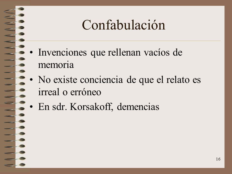 Confabulación Invenciones que rellenan vacíos de memoria