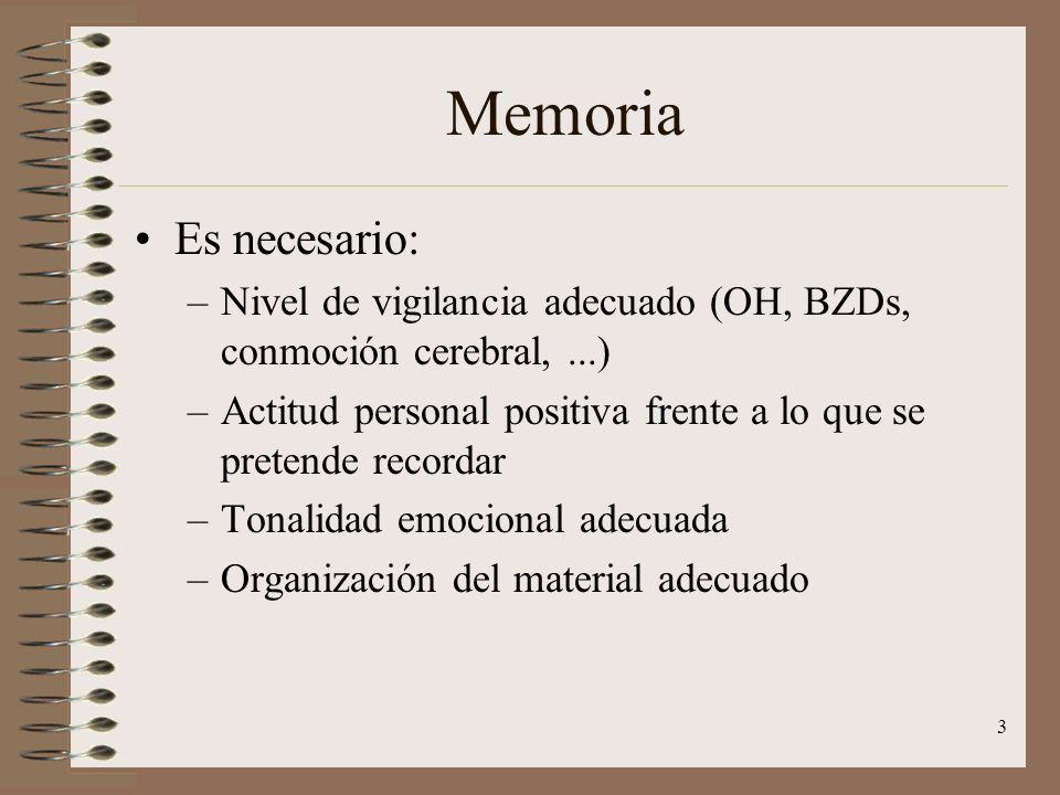 Memoria Es necesario: Nivel de vigilancia adecuado (OH, BZDs, conmoción cerebral, ...)