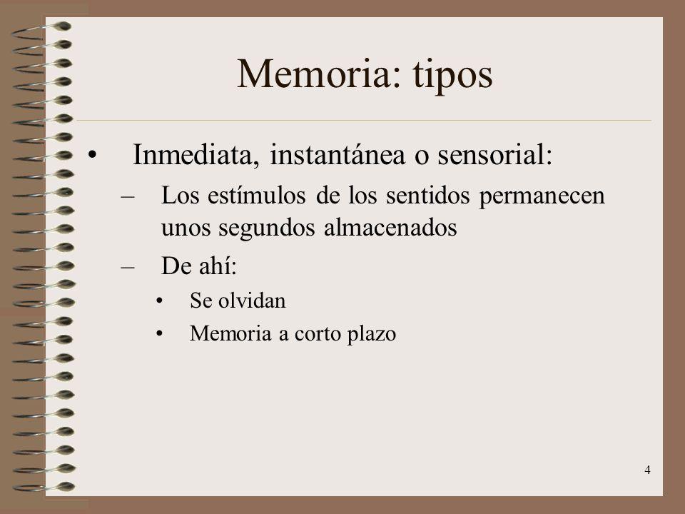 Memoria: tipos Inmediata, instantánea o sensorial: