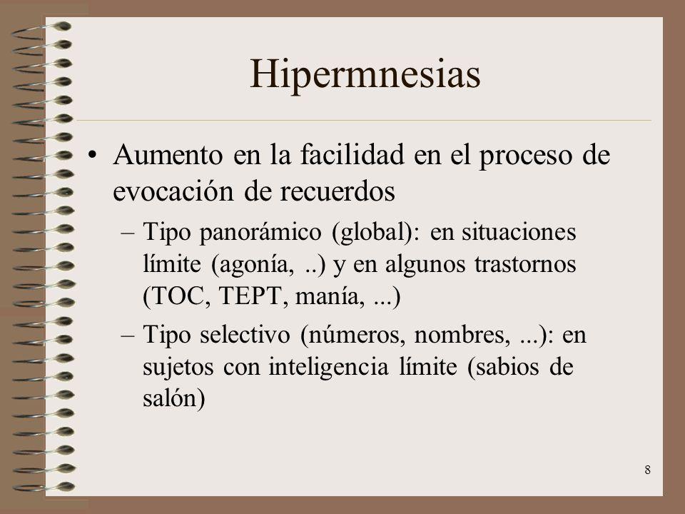 Hipermnesias Aumento en la facilidad en el proceso de evocación de recuerdos.