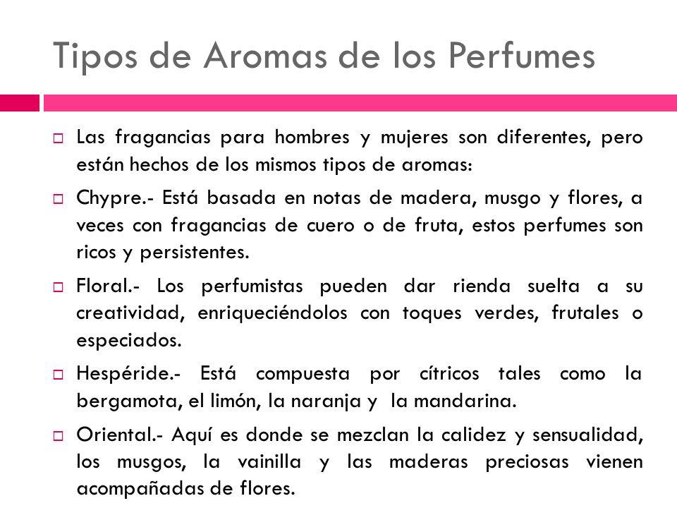 Tipos de Aromas de los Perfumes