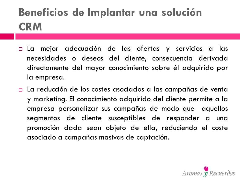 Beneficios de Implantar una solución CRM