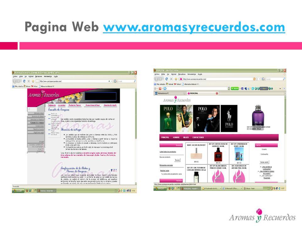 Pagina Web www.aromasyrecuerdos.com