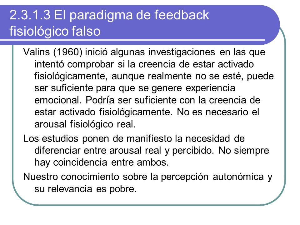 2.3.1.3 El paradigma de feedback fisiológico falso