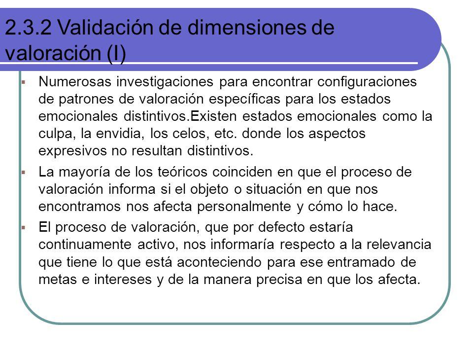 2.3.2 Validación de dimensiones de valoración (I)