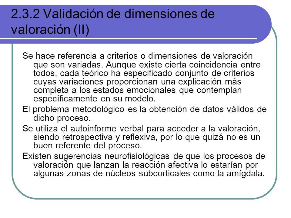 2.3.2 Validación de dimensiones de valoración (II)