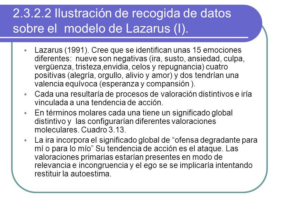 2.3.2.2 Ilustración de recogida de datos sobre el modelo de Lazarus (I).