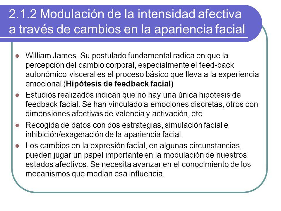 2.1.2 Modulación de la intensidad afectiva a través de cambios en la apariencia facial