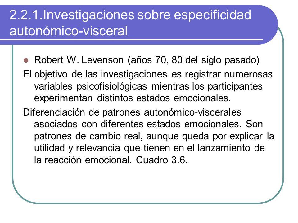 2.2.1.Investigaciones sobre especificidad autonómico-visceral
