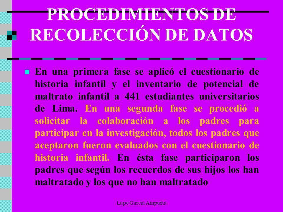 PROCEDIMIENTOS DE RECOLECCIÓN DE DATOS