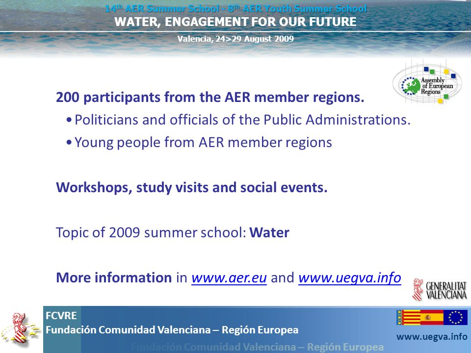200 participants from the AER member regions.