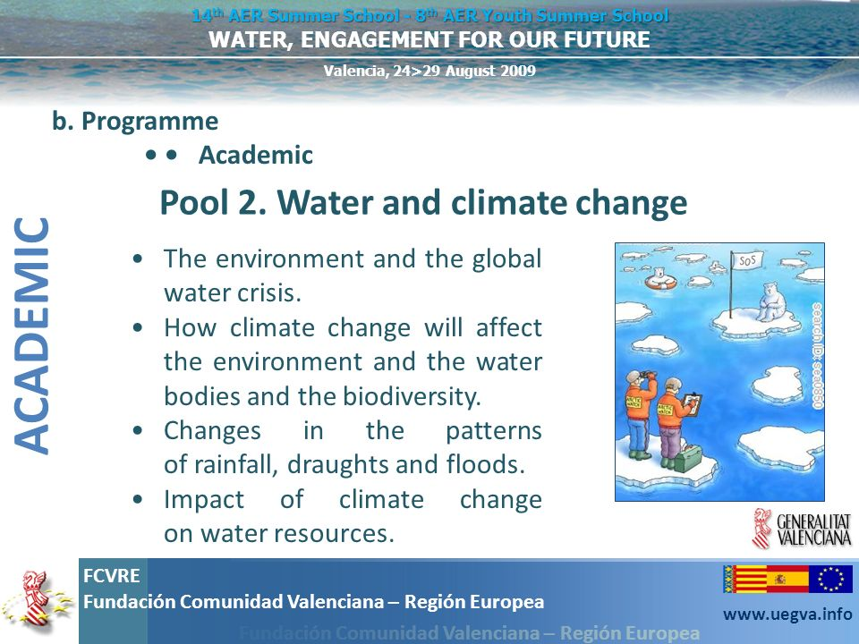 ACADEMIC Pool 2. Water and climate change b. Programme • • Academic