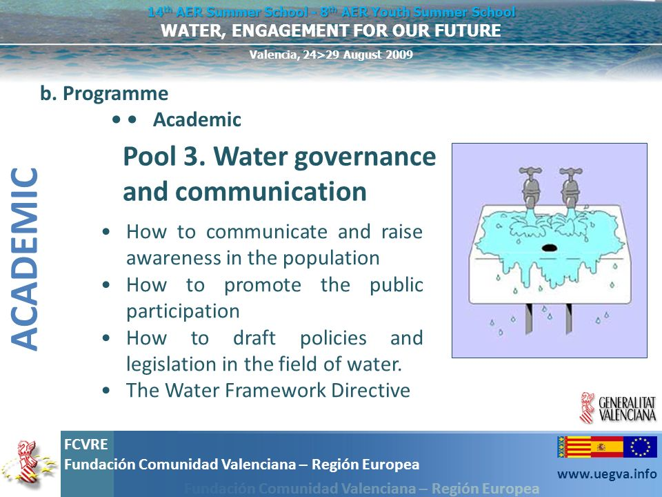 ACADEMIC Pool 3. Water governance and communication b. Programme