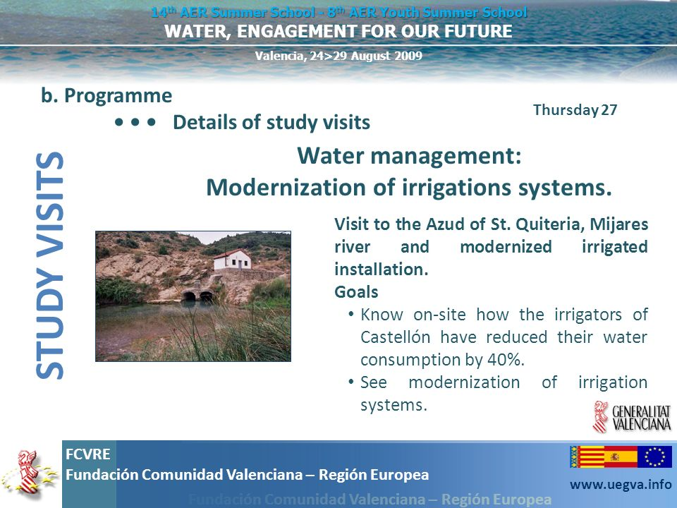 Water management: Modernization of irrigations systems.
