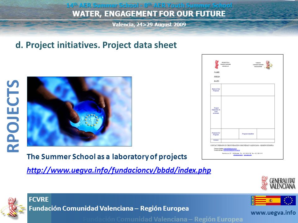 RPOJECTS d. Project initiatives. Project data sheet