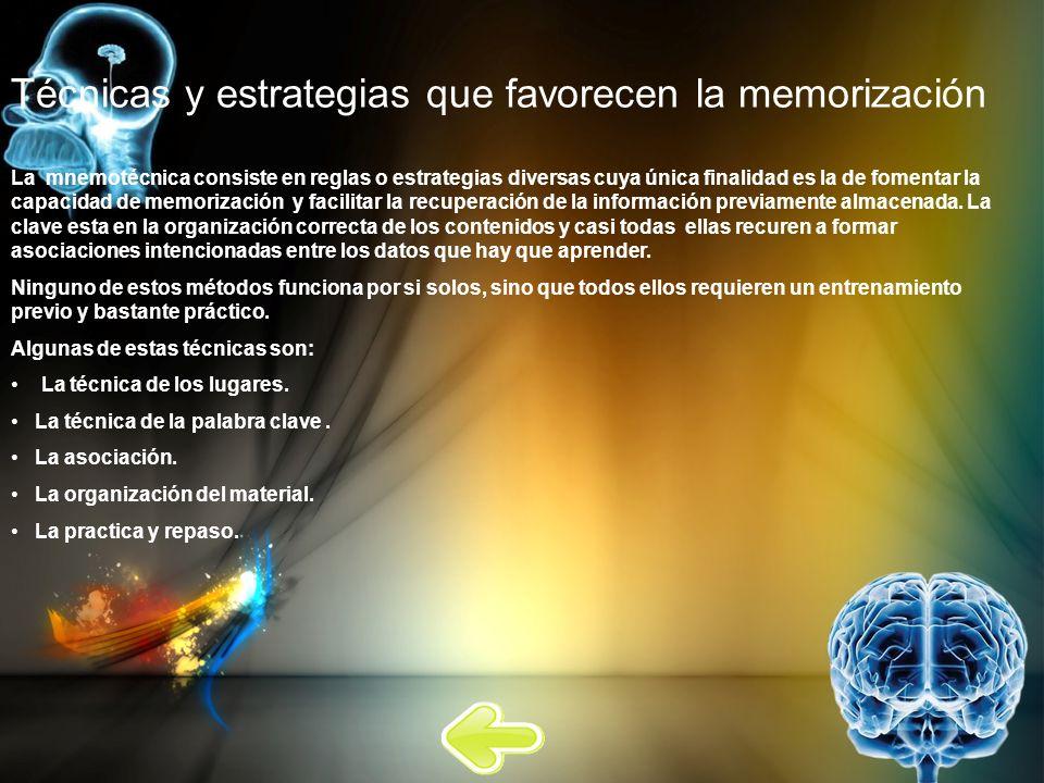 Técnicas y estrategias que favorecen la memorización