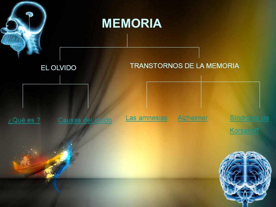 MEMORIA TRANSTORNOS DE LA MEMORIA EL OLVIDO Las amnesias Alzheimer
