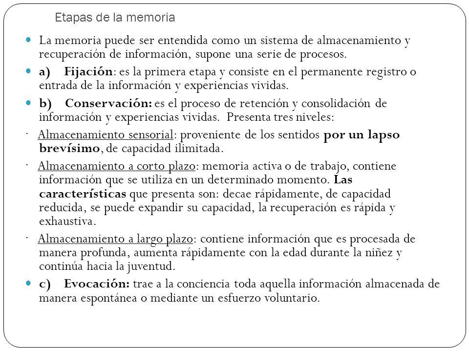 Etapas de la memoria La memoria puede ser entendida como un sistema de almacenamiento y recuperación de información, supone una serie de procesos.