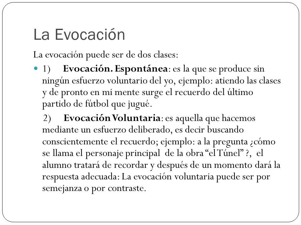 La Evocación La evocación puede ser de dos clases: