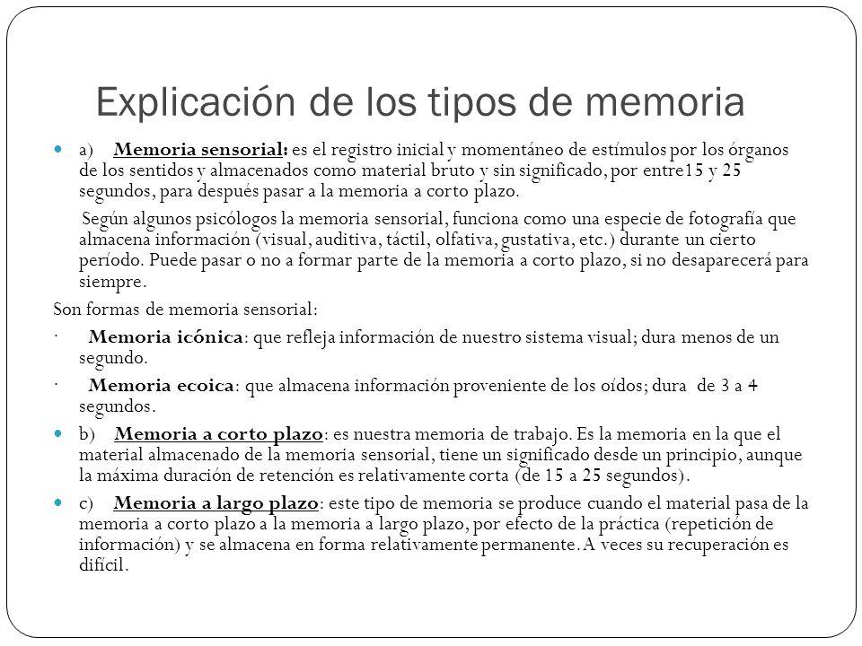 Explicación de los tipos de memoria