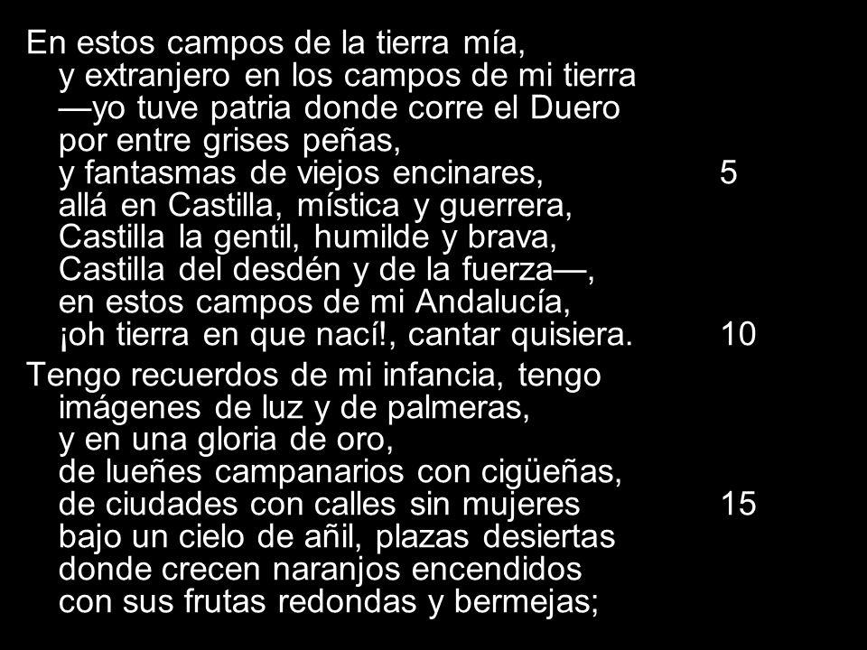 En estos campos de la tierra mía, y extranjero en los campos de mi tierra —yo tuve patria donde corre el Duero por entre grises peñas, y fantasmas de viejos encinares, 5 allá en Castilla, mística y guerrera, Castilla la gentil, humilde y brava, Castilla del desdén y de la fuerza—, en estos campos de mi Andalucía, ¡oh tierra en que nací!, cantar quisiera. 10