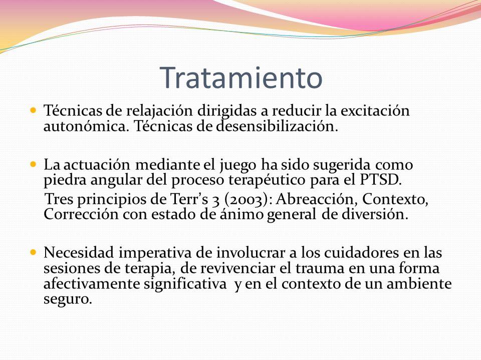 Tratamiento Técnicas de relajación dirigidas a reducir la excitación autonómica. Técnicas de desensibilización.
