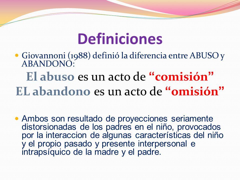 Definiciones El abuso es un acto de comisión