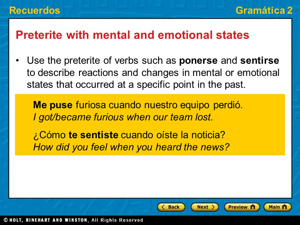 Preterite with mental and emotional states