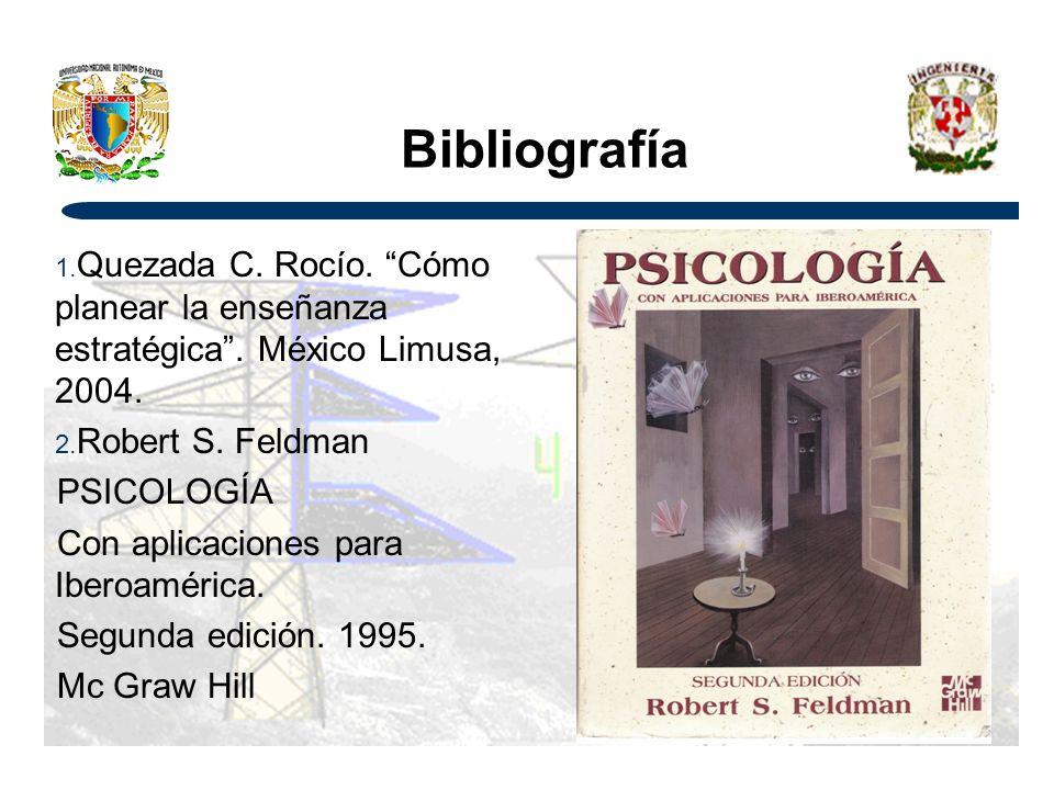 Bibliografía Quezada C. Rocío. Cómo planear la enseñanza estratégica . México Limusa, 2004. Robert S. Feldman.