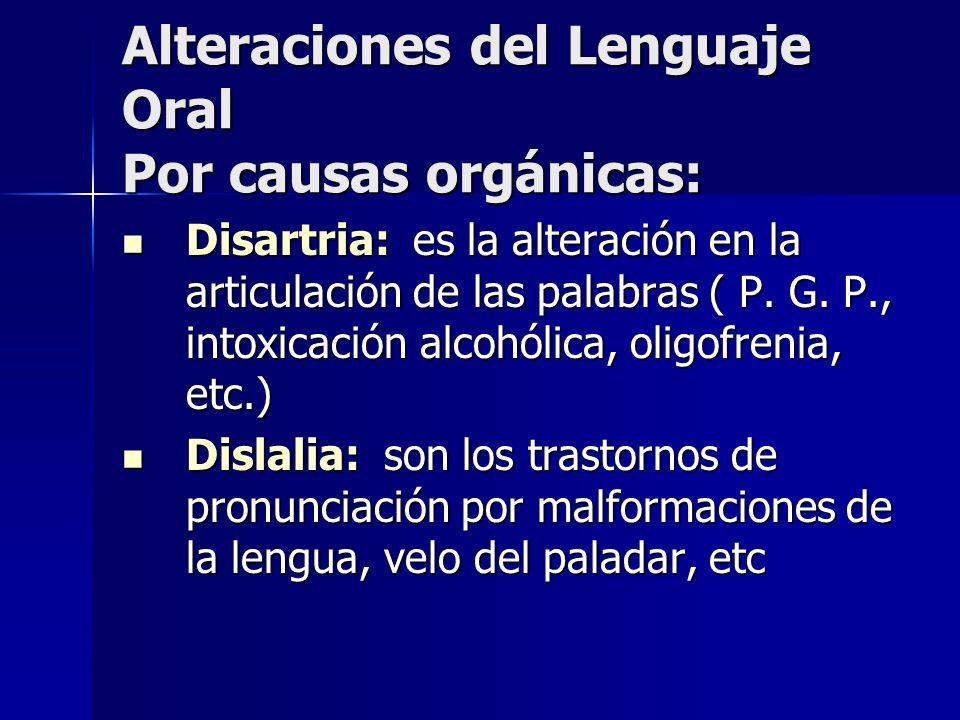 Alteraciones del Lenguaje Oral Por causas orgánicas: