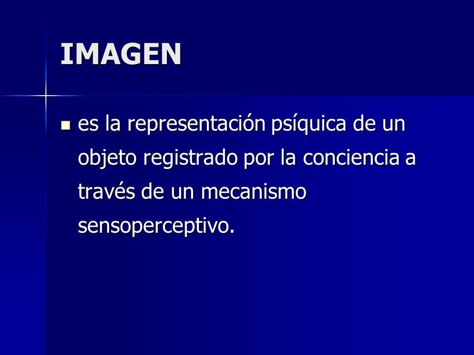 IMAGEN es la representación psíquica de un objeto registrado por la conciencia a través de un mecanismo sensoperceptivo.