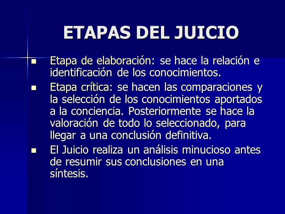 ETAPAS DEL JUICIO Etapa de elaboración: se hace la relación e identificación de los conocimientos.
