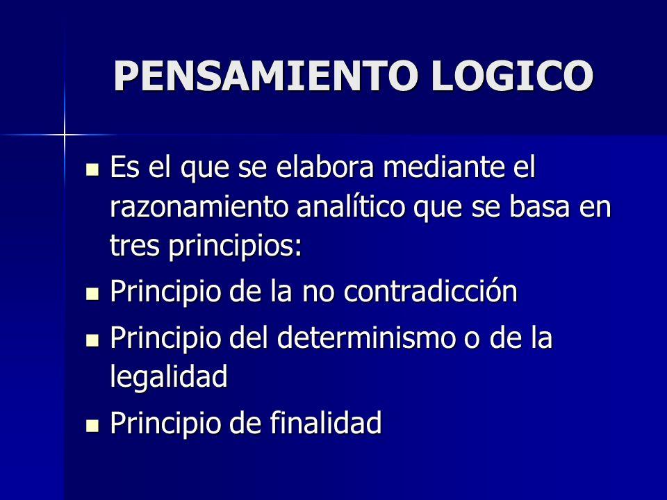 PENSAMIENTO LOGICO Es el que se elabora mediante el razonamiento analítico que se basa en tres principios: